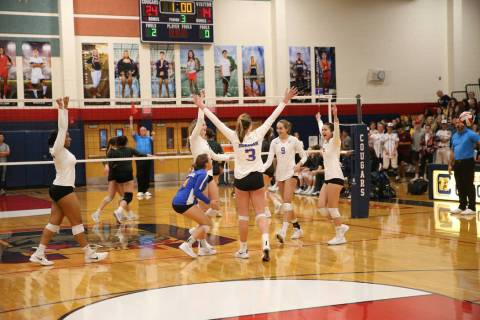 Bishop Gorman react to scoring their last point to win 3-0 against Palo Verde during the thi ...
