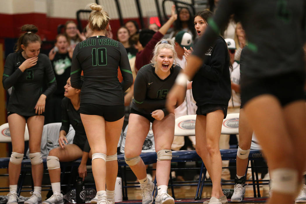Palo Verde's Rilee Read (15) reacts from the bench after a play against Bishop Gorman ...