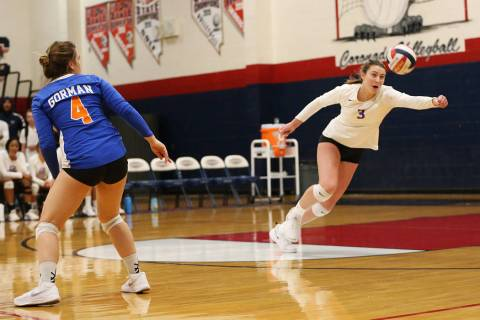 Bishop Gorman's Tommi Stockham (3) reaches for a save against Palo Verde during the th ...