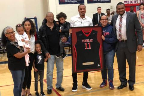 Los Angeles Clippers guard and former Findlay Prep star poses for a photo during his jersey ...