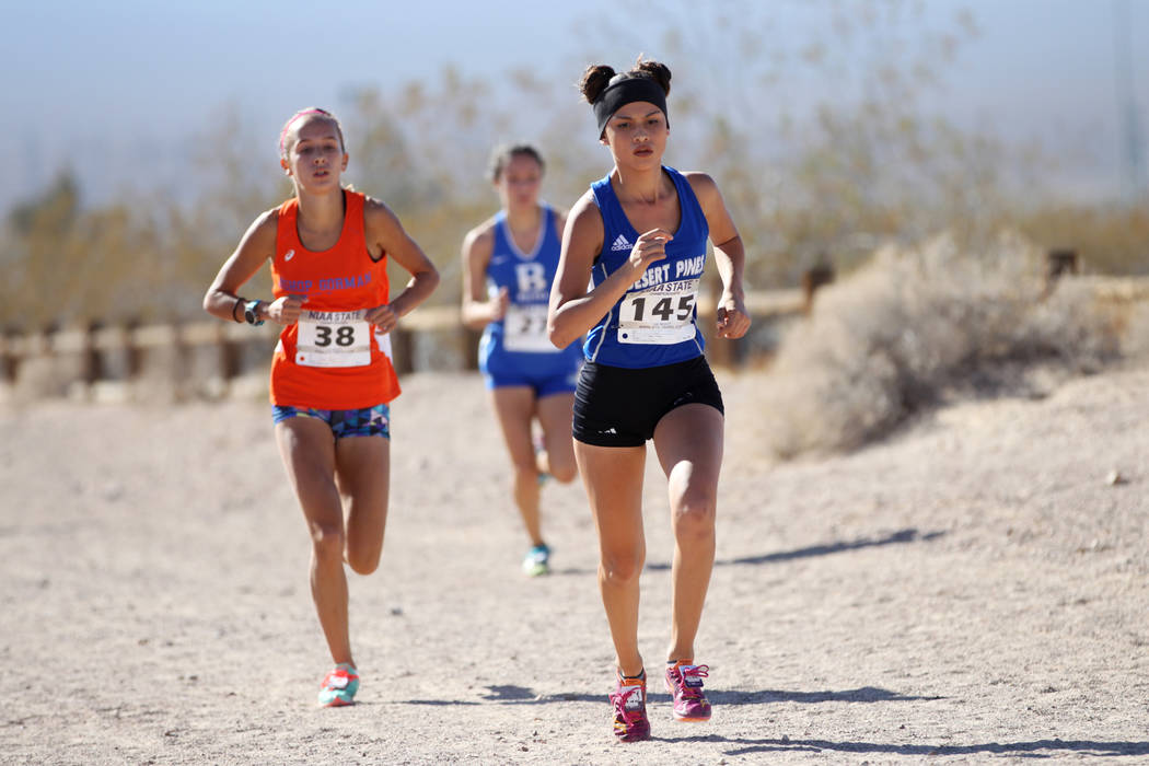 Desert Pines Jazmin Felix (145) runs during the NIAA 4A Girls Cross Country State Championsh ...