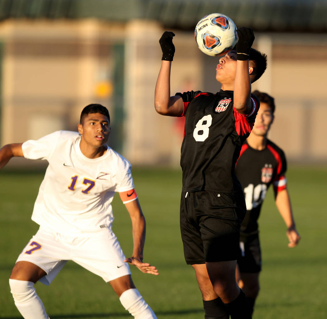 Las Vegas' Daniel Rangel (8) heads the ball in front of Durango's Marcos Delgado ...