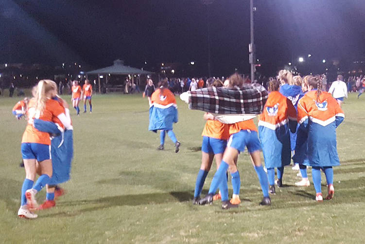 Defending state champion Bishop Gorman celebrates after a 3-2 win over Palo Verde in the Cla ...