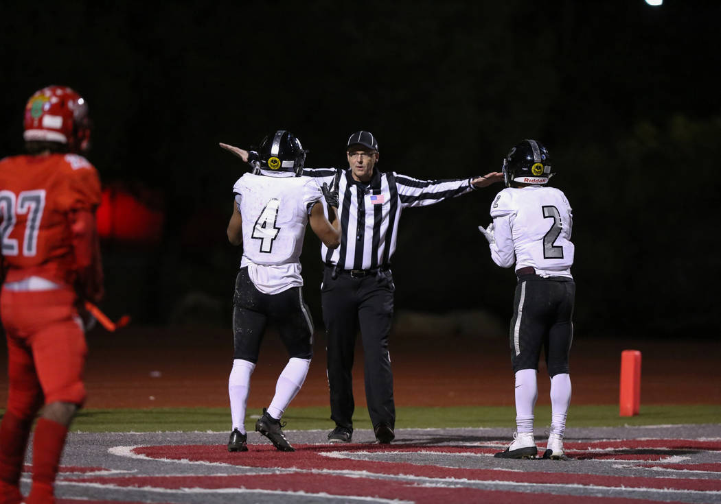 Desert Pines gets told their touchdown is incomplete during second half of the Mountain Regi ...