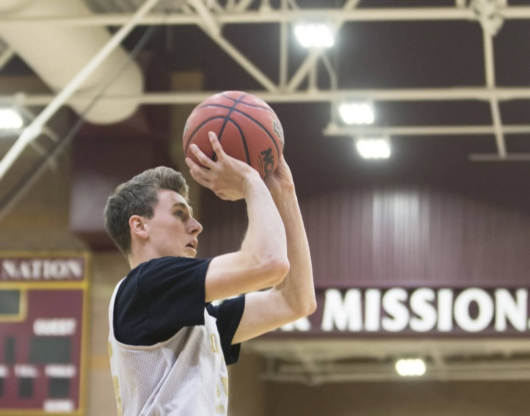 Faith Lutheran senior guard Brevin Walter shoots a corner three during practice on Monday, N ...