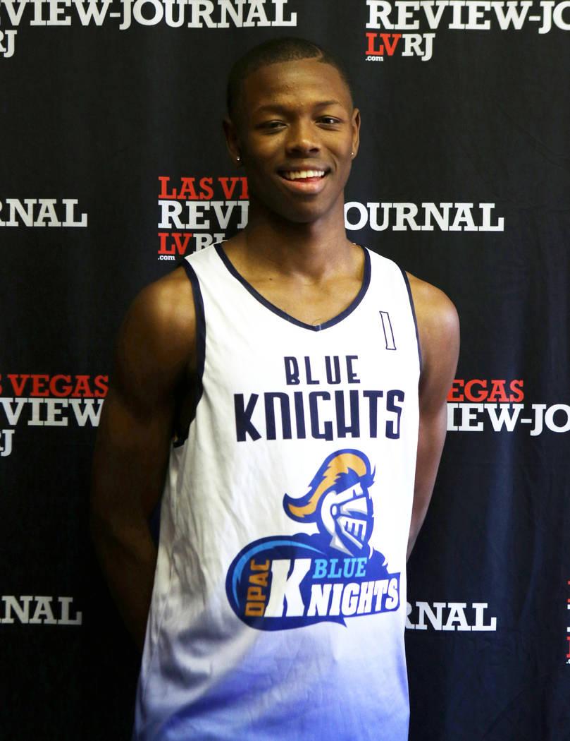 Democracy Prep High School basketball standout Najeeb Muhammad is photographed in Las Vegas, ...