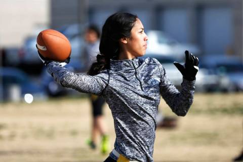Tiarra Del Rosario, one of the best flag football players in the state, practices at Cimarro ...