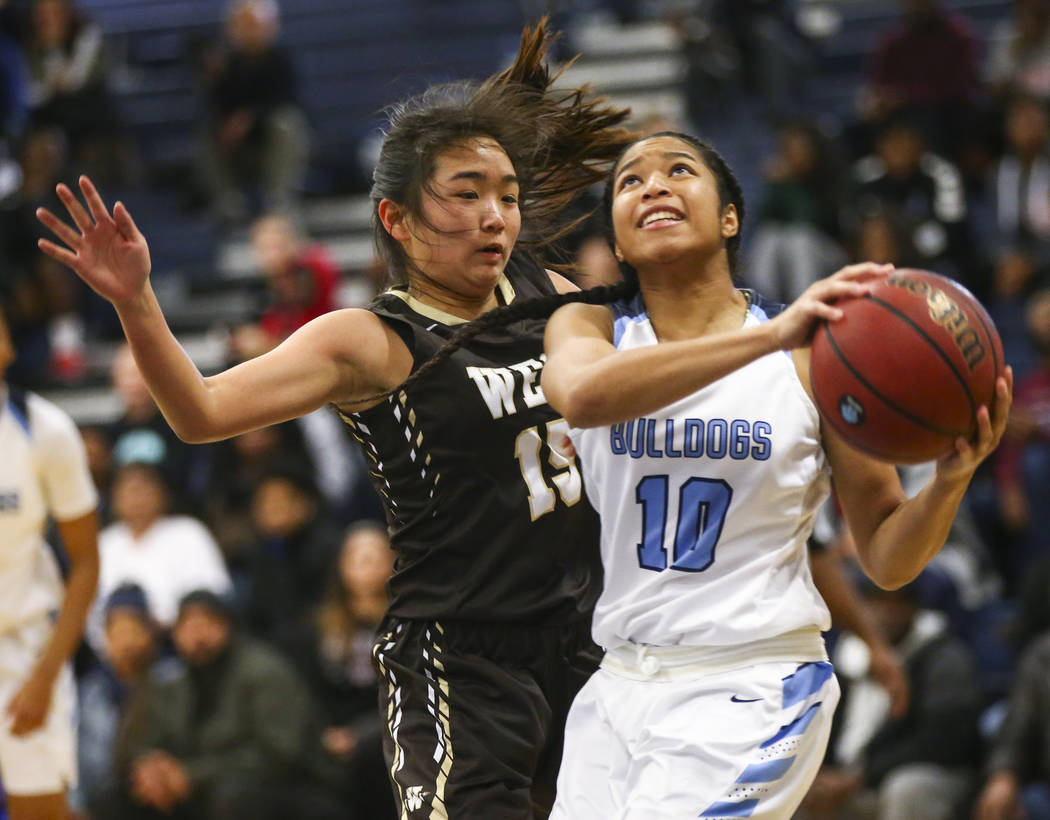 Centennial's Ajanhai Phoumiphat (10) goes to the basket against West's Rachel ...
