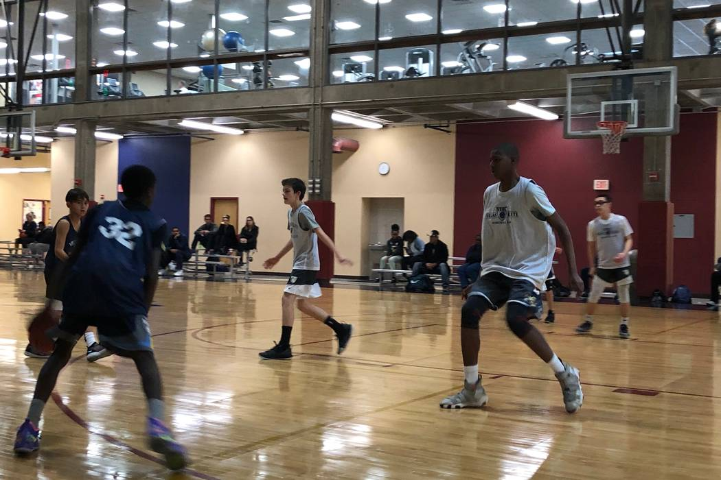 Seventh and eighth grades compete in a 3-on-3 basketball tournament at the Bill and Lillie H ...