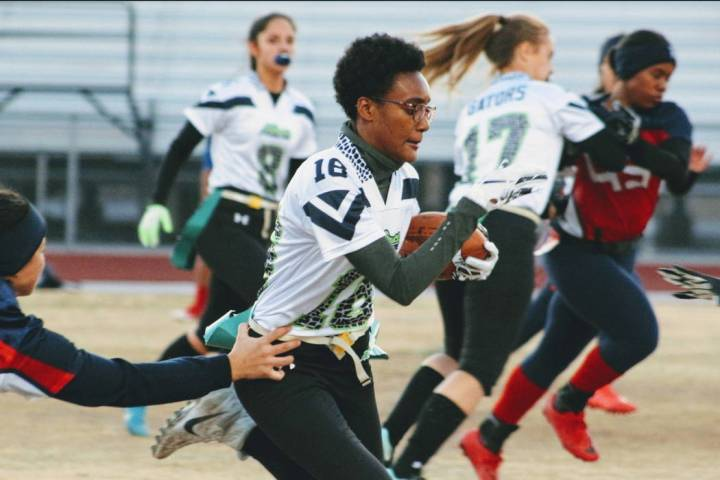 Green Valley's Deborah Grant rushes for 26 yards against Liberty on Thursday, Jan. 24, ...