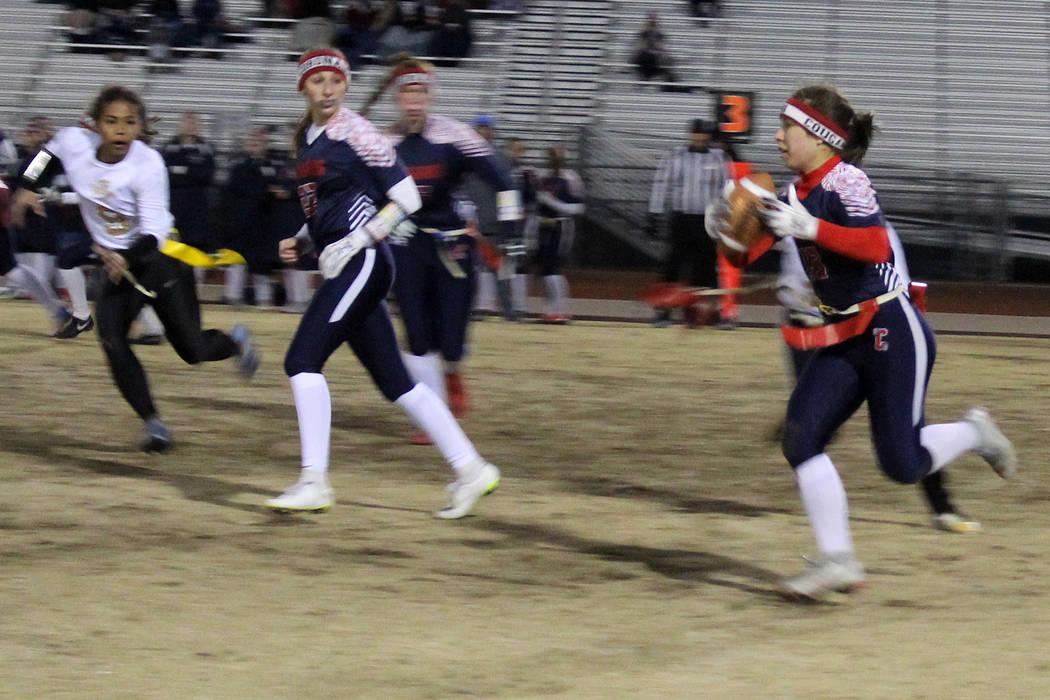 Coronado's Kaylee Zicha carries the ball on Friday against Sierra Vista. Coronado held ...