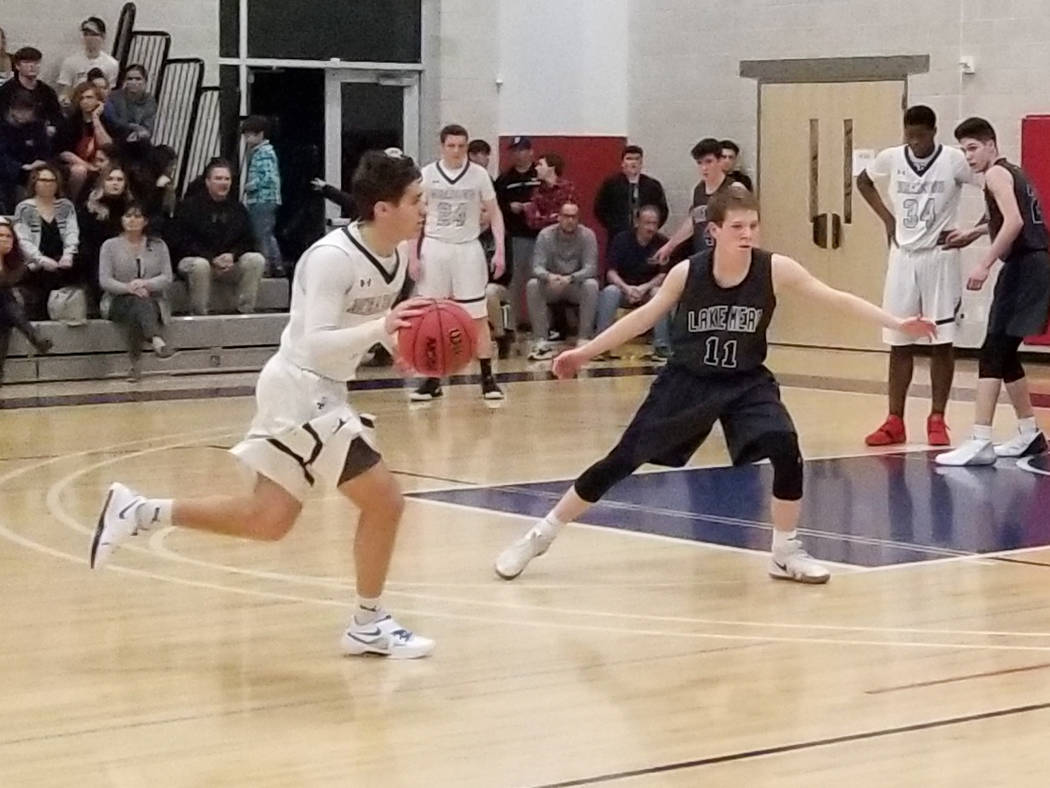 The Meadows' Noah Klein drives to the basket durning the Class 2A Southern League semi ...