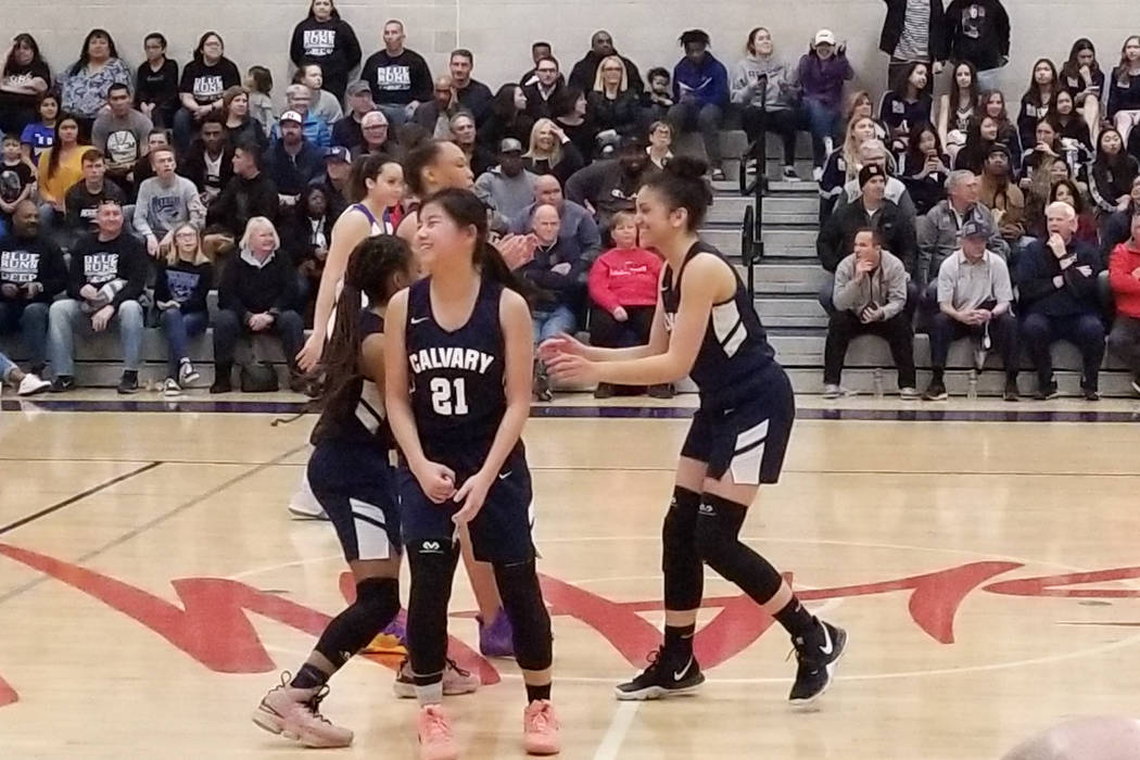 Calvary Chapel players react after taking the lead against Needles in the Class 2A Southern ...