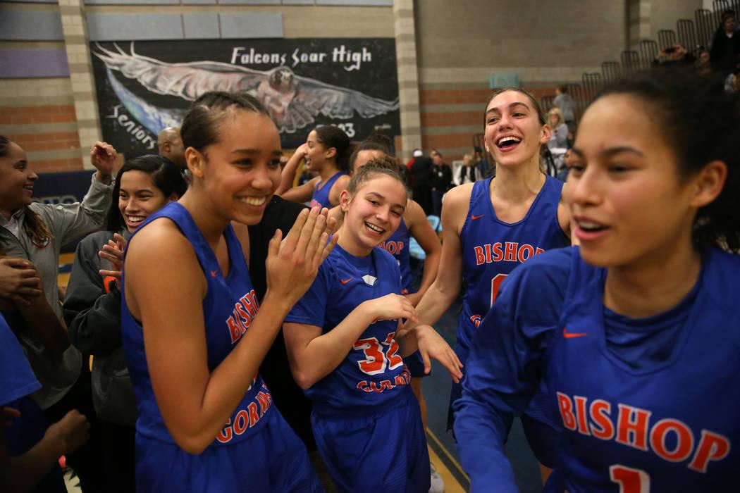 Bishop Gorman celebrates their win against Desert Oasis in the Desert Region girls basketbal ...