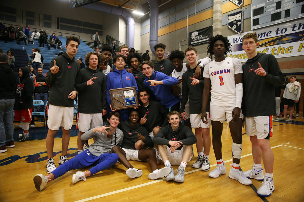 Bishop Gorman is photographed after they win against Clark in the Desert Region boys basketb ...