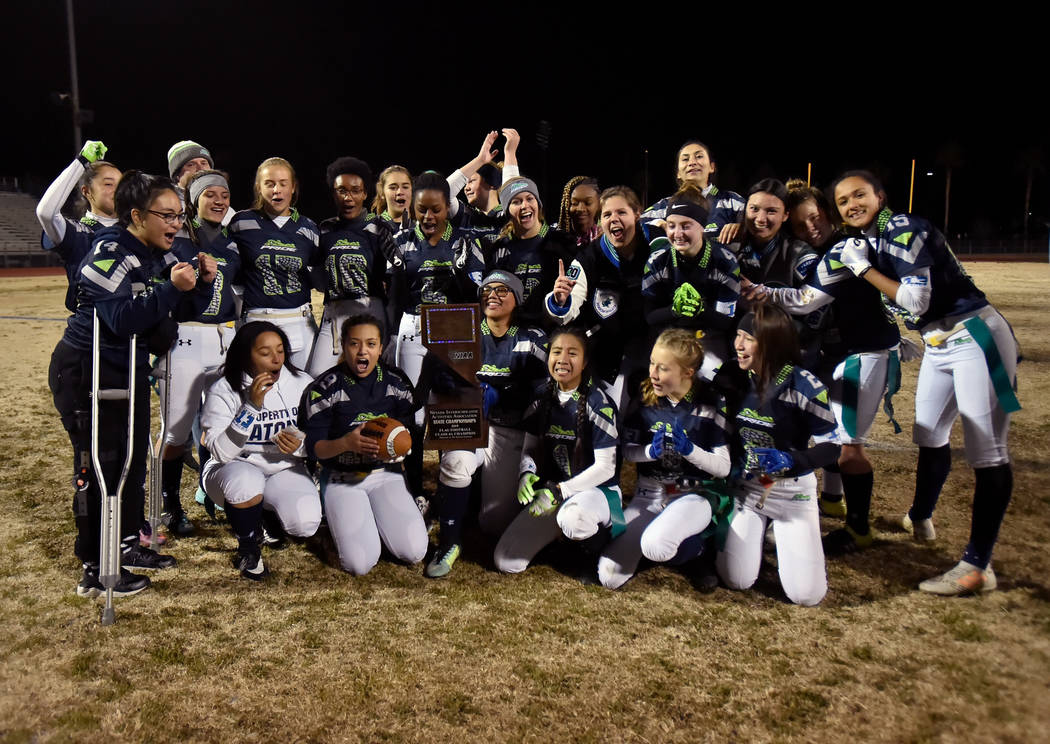 Green Valley celebrates after defeating Bonanza 14-13 in Class 4A state flag football champi ...
