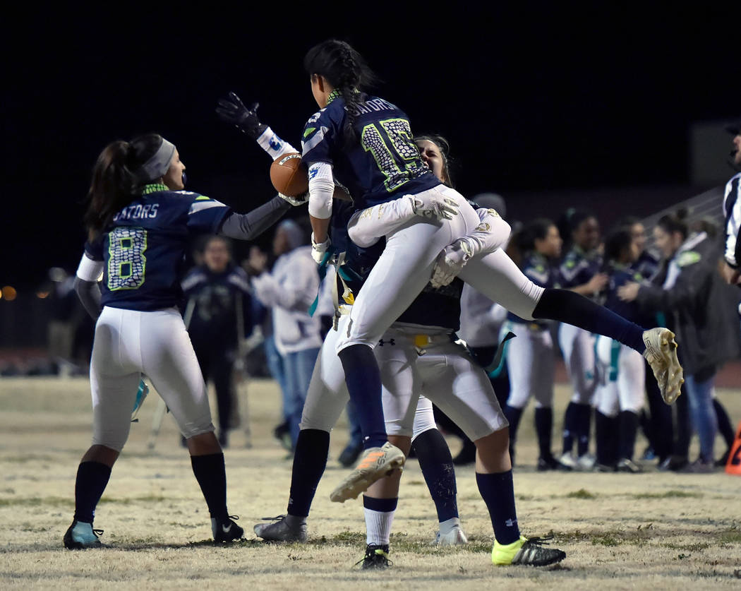 Green Valley's Jazlyn Camacho (15) is lifted into the air after completing the two-poi ...