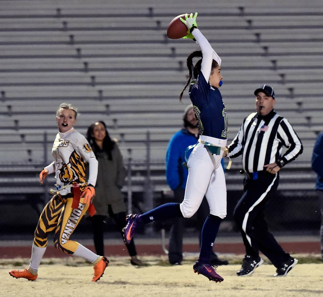 Green Valley's Rebecca Orozco (10) intercepts the all against Bonanza's Shayne D ...