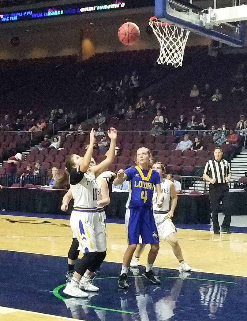 Moapa Valley's Peyton Schraft looks to grab a rebound in the Class 3A state semifinals ...