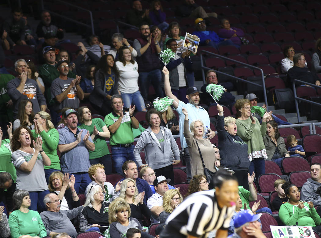 Churchill County fans cheer during the second half of the Class 3A girls basketball state ch ...