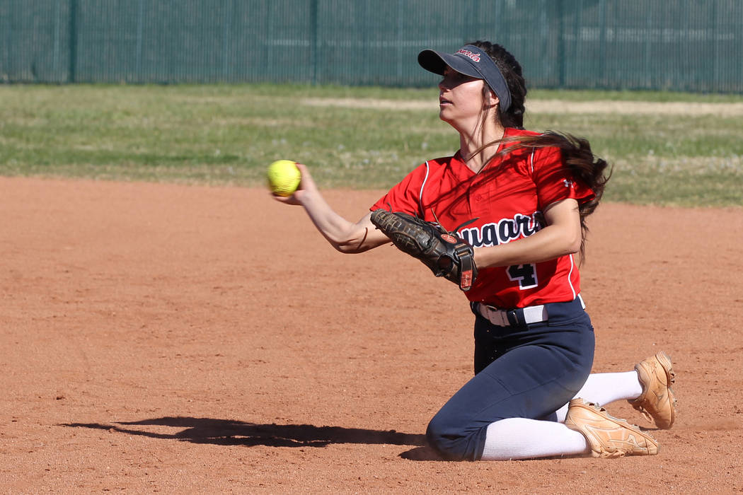 CoronadoÕs Aleah Baldonado (4) throws to first base after fielding a ground ball agains ...