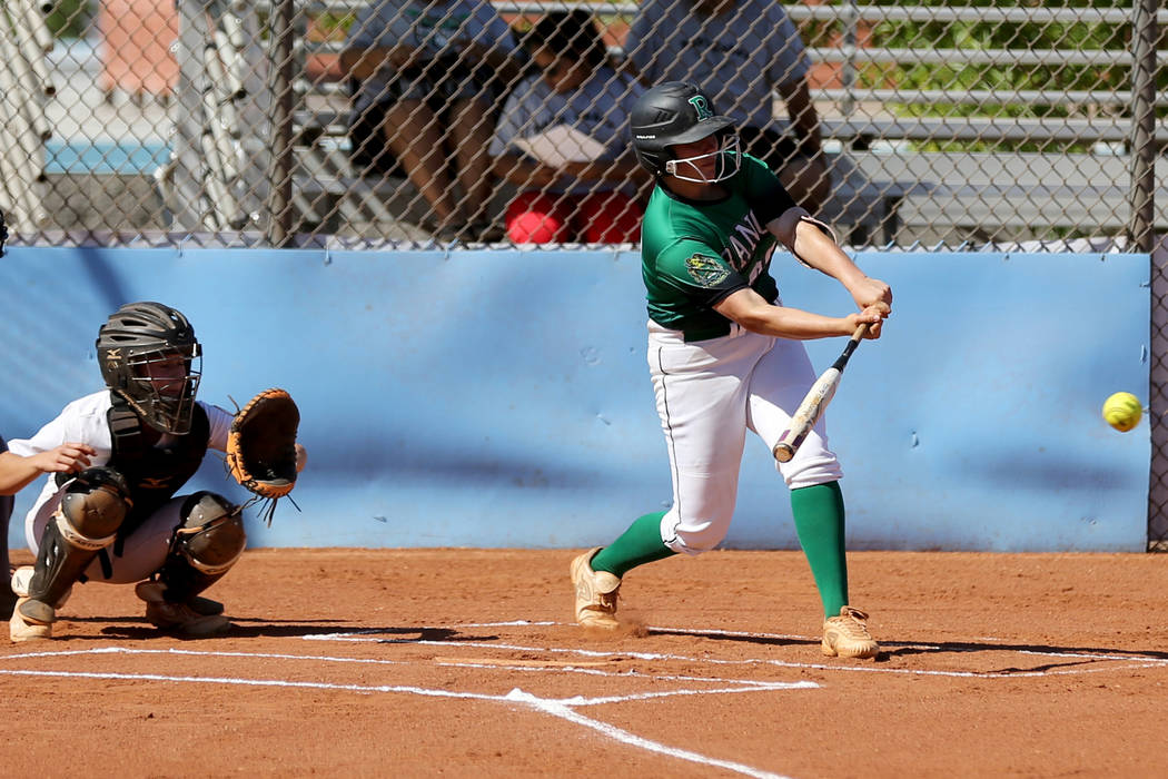 Rancho's MacKenzie Perry (99) gets a hit against Foothill in the first inning of their ...