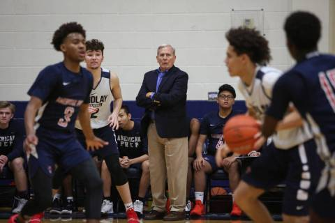 Dave Bliss coaches his team American Preparatory as they play Findlay Prep in Henderson, Wed ...