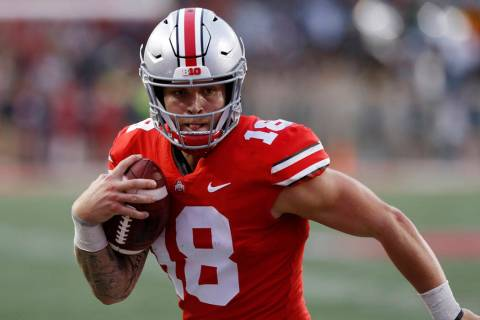 In this Sept. 22, 2018, file photo, Ohio State quarterback Tate Martell runs against Tulane ...