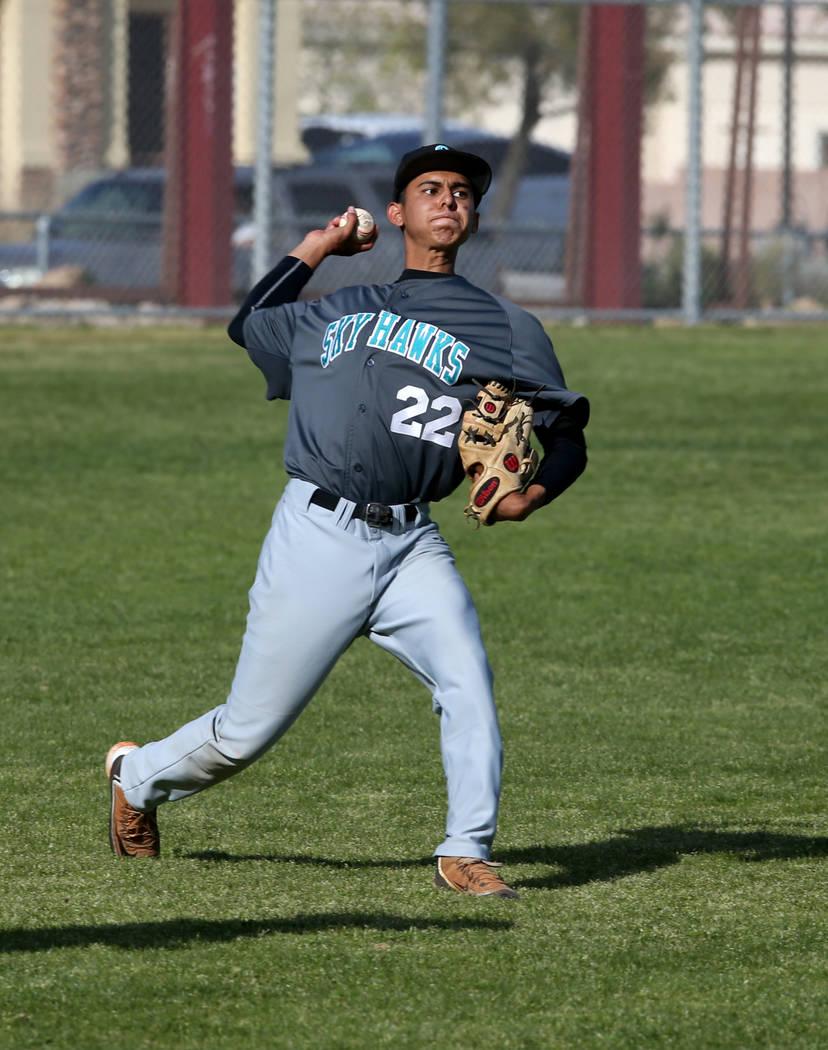 Silverado outfielder Gerardo Hernandez (22) throws to home against Cimarron-Memorial in the ...