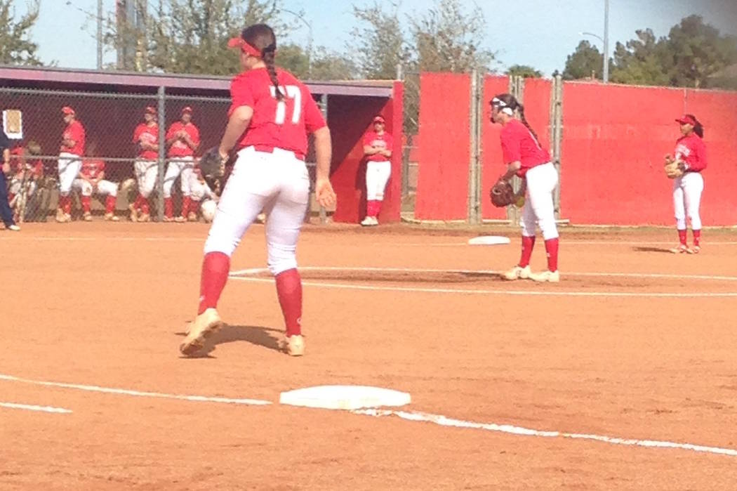 Arbor View's Kylie Sharapan (center) prepares to deliver a pitch against Coronado in a ...
