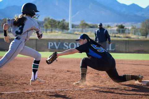 Sierra Vista's Mia Buranamontri (54) catches the ball to force out Palo Verde's ...