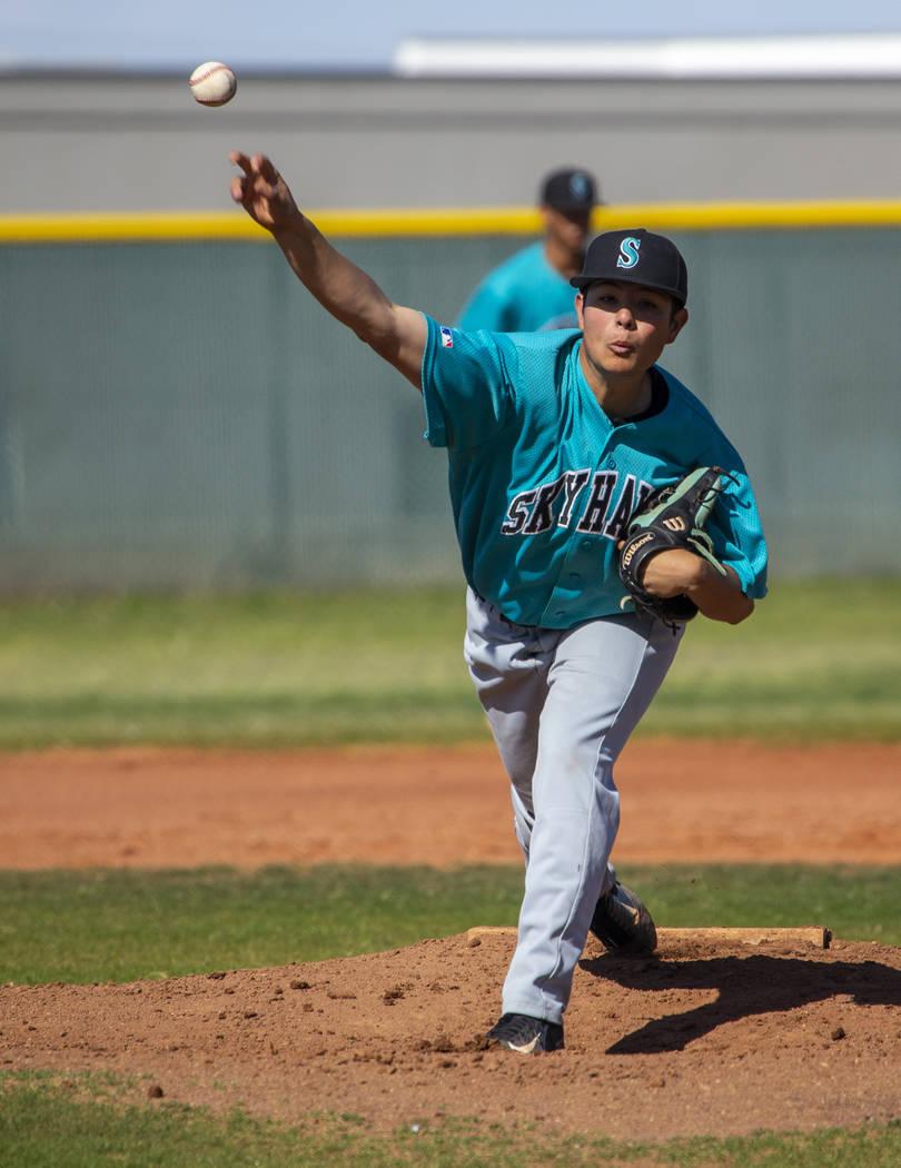 Silverado pitcher Angel Garcia (4) tosses a ball towards the plate versus Coronado during th ...