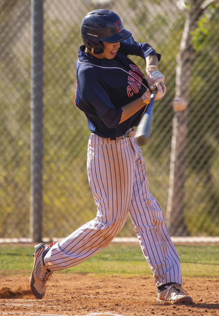 Coronado batter Jarrett Kenyon (29) readies to connect with a pitch versus Silverado during ...