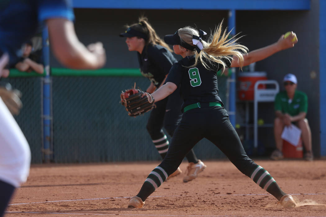Green Valley's Tiffany Katz (9) pitches against Foothill in the softball game at Green ...