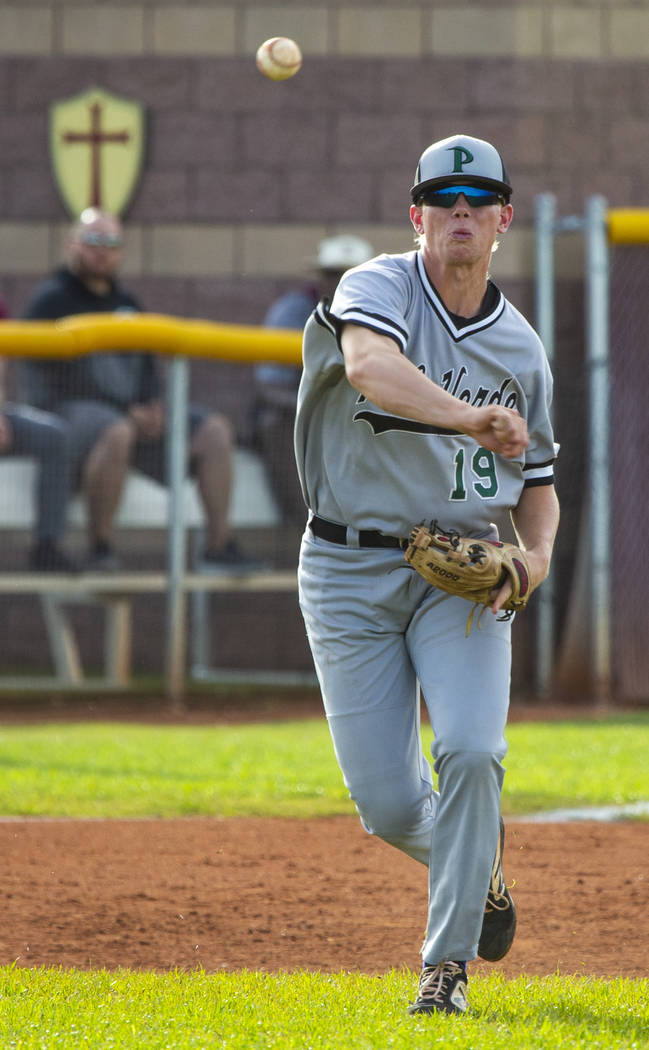 Palo Verde's Bryce Robison (19) slings a ball to first base ahead of a Faith Lutheran ...