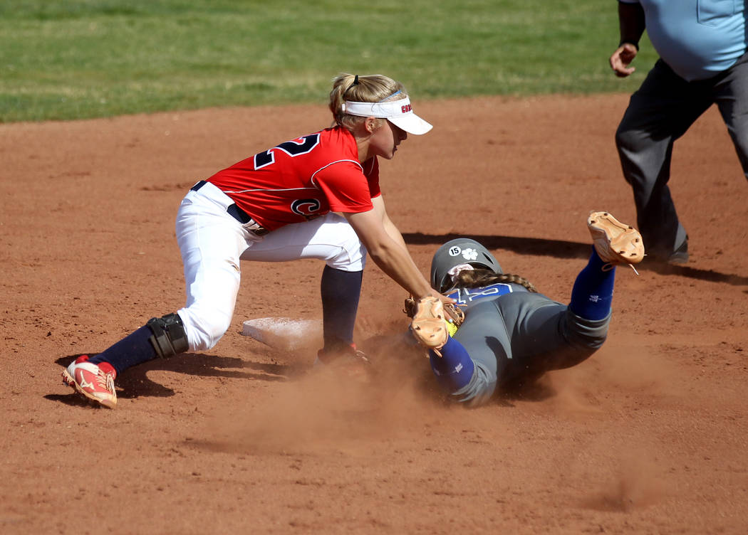 Coronado shortstop Paige Sinicki (12) tags out Basic baserunner Mikayla Berg (15) during the ...