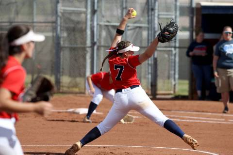 Coronado pitcher Ashley Ward (7) throws against Basic in the first inning of their softball ...
