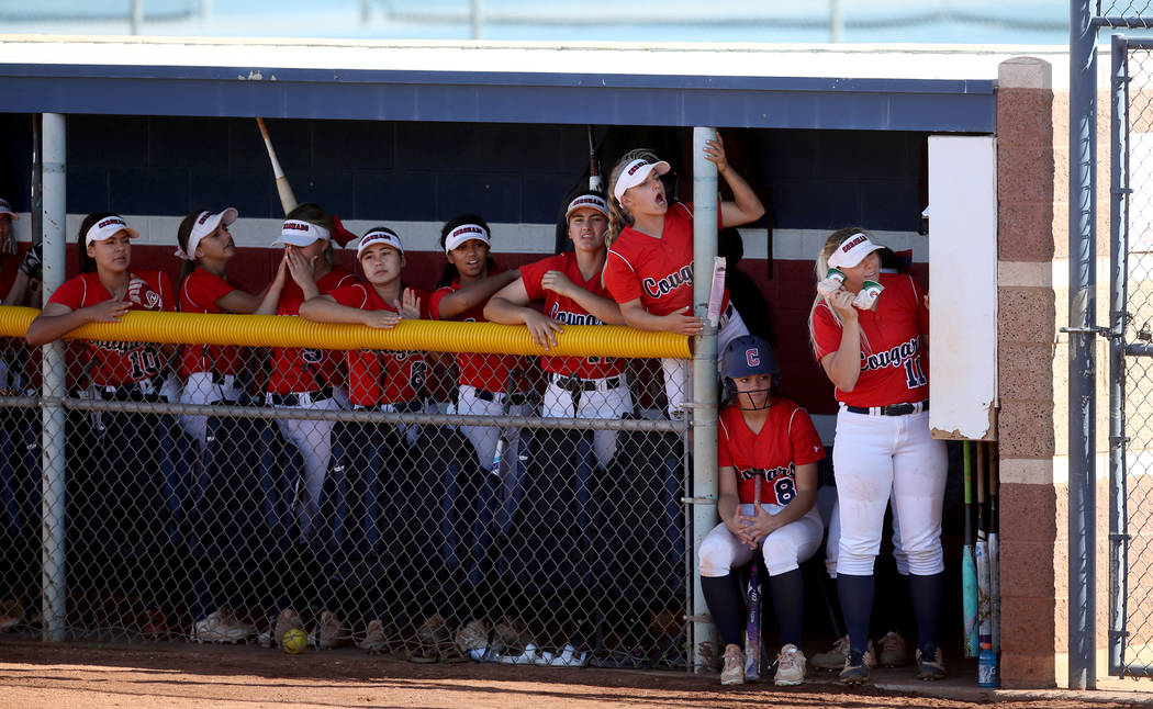 Coronado players cheer in the first inning during their softball game against Basic at Coron ...