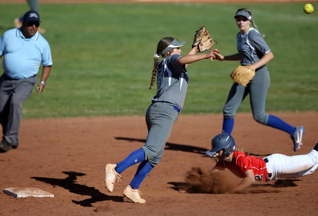 Basic shortstop Mikayla Berg (15) goes for a wild throw as Coronado's Paige Sinicki (1 ...