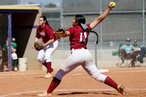 Desert Oasis Jazmyne Compehos (11) pitches against Rancho in the softball game at Durango Hi ...