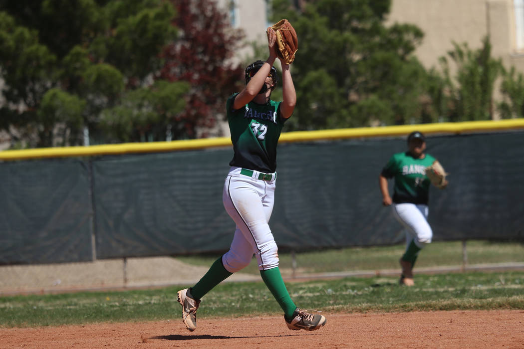 Rancho's Kaitlyn Suarez (32) makes a catch in the outfield against Desert Oasis in the ...