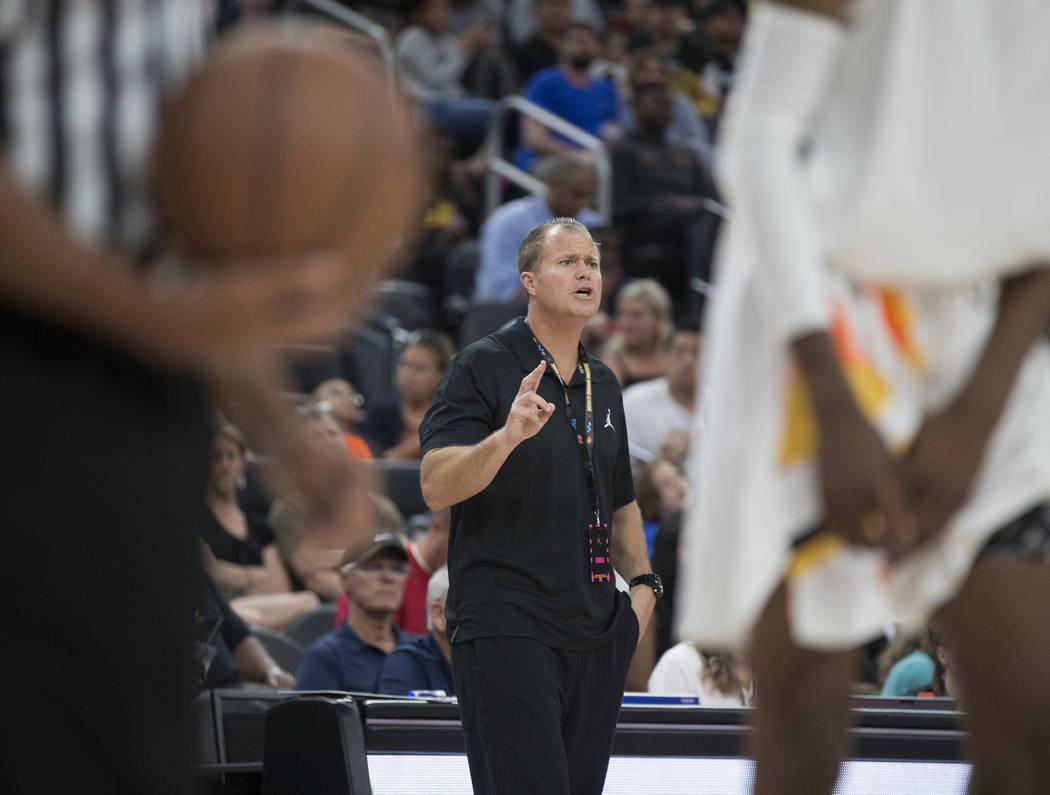 Bishop Gorman coach Grant Rice calls out a play in the second half during the Jordan Brand C ...
