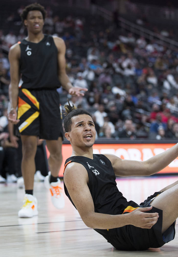 Cole Anthony (50) argues a call in the second half during the Jordan Brand Classic All-Ameri ...