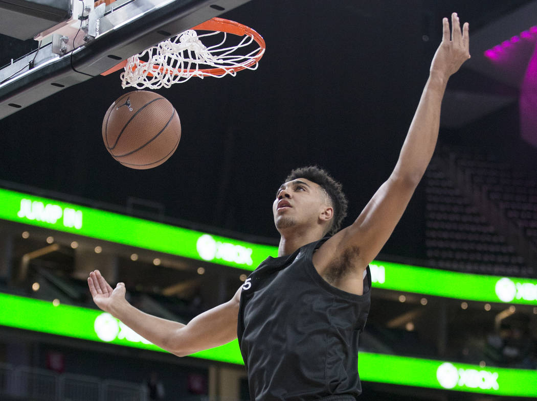 Armando Bacot Jr. (5) dunks in the first half during the Jordan Brand Classic All-American g ...