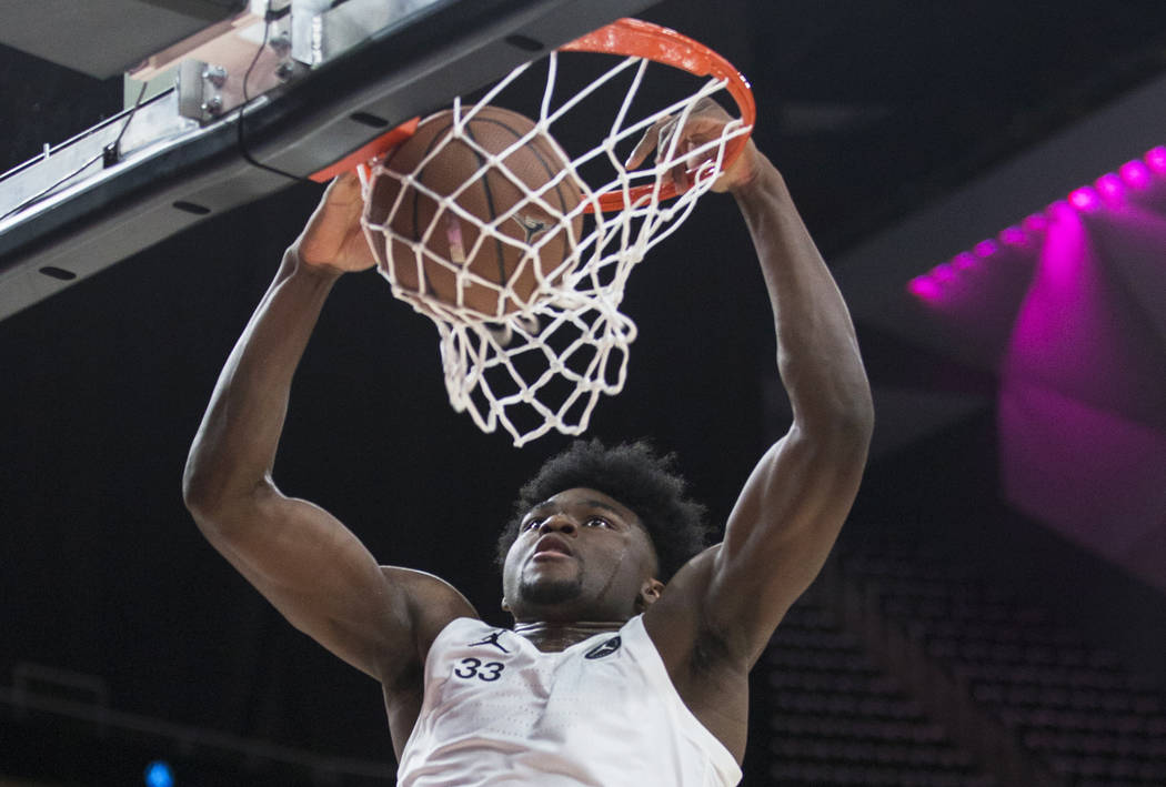 Isaiah Stewart (33) dunks in the second half during the Jordan Brand Classic All-American ga ...