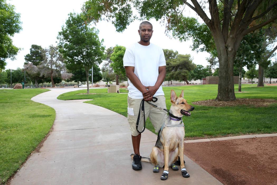 Military veteran Terrence Scott at Morell Park in Henderson, Thursday, May 16, 2019. Scott has ...