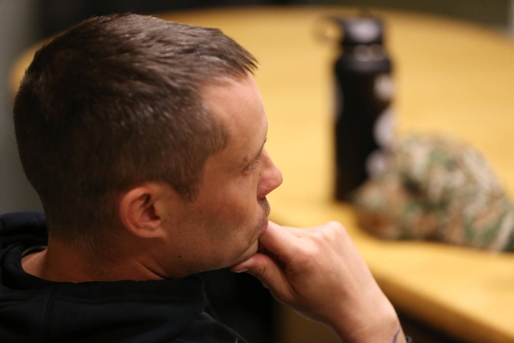 Chris Jachimiec listens during a support group meeting at the Rainbow Library in Las Vegas, Wed ...
