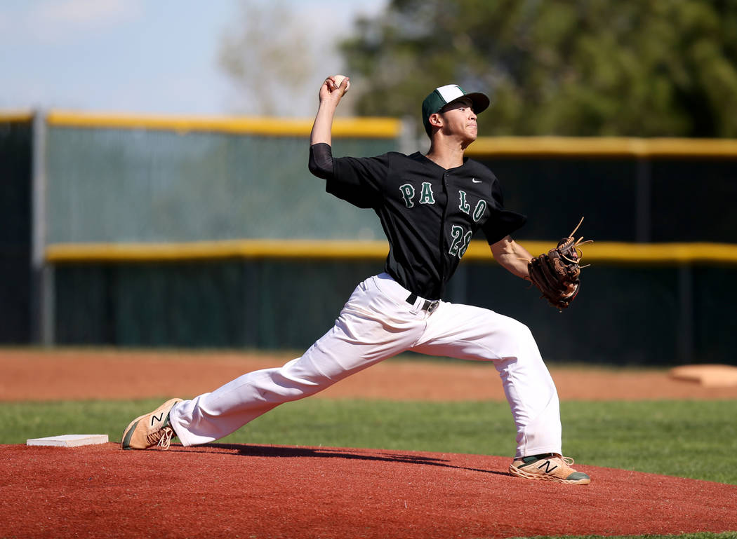 Palo Verde pitcher Noah Carabajal throws against Basic in the second inning of their basebal ...