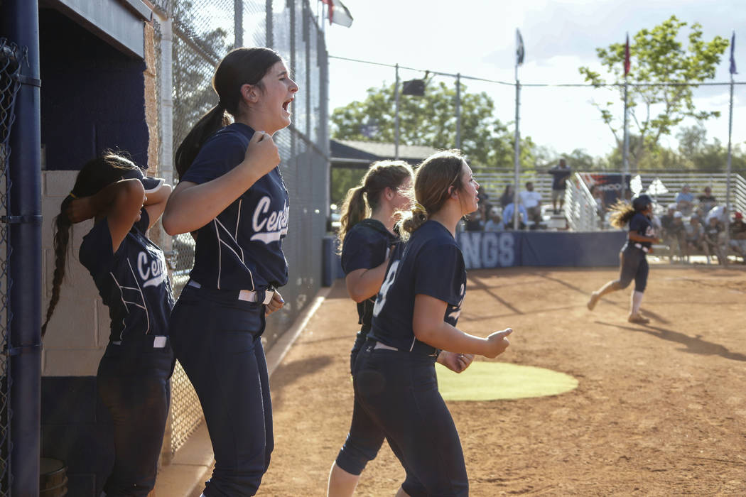 Centennial plays cheer on their teammates in the seventh inning of their softball game at Sh ...