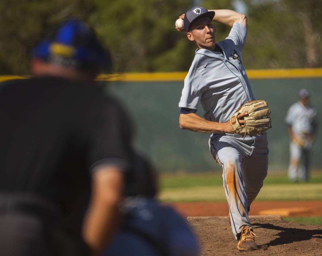 Spring Valley pitcher Braxton Bruschke sends a throw towards a Liberty batter in the first r ...
